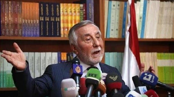 Syrian ambassador Bahjat Suleiman at a press conference in Amman last month. Photo courtesy of The Jordan Times
