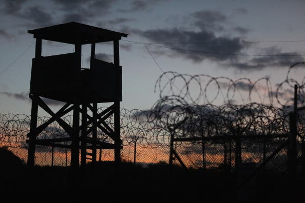 A watch tower looms above a now-closed area of the U.S. prison in Guantanamo Bay. (source: Joe Raedle/Getty Images)