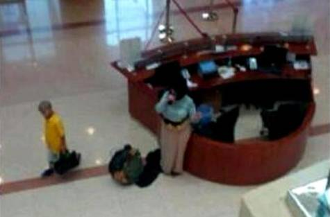 A still photo from a CCTV footage inside the Dubai Public Prosecution building on Monday. (Image courtesy of the Daily Star)