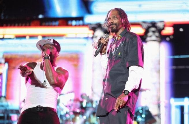 50 Cent performs with Snoop Lion (formerly Snoop Dogg) earlier this year
