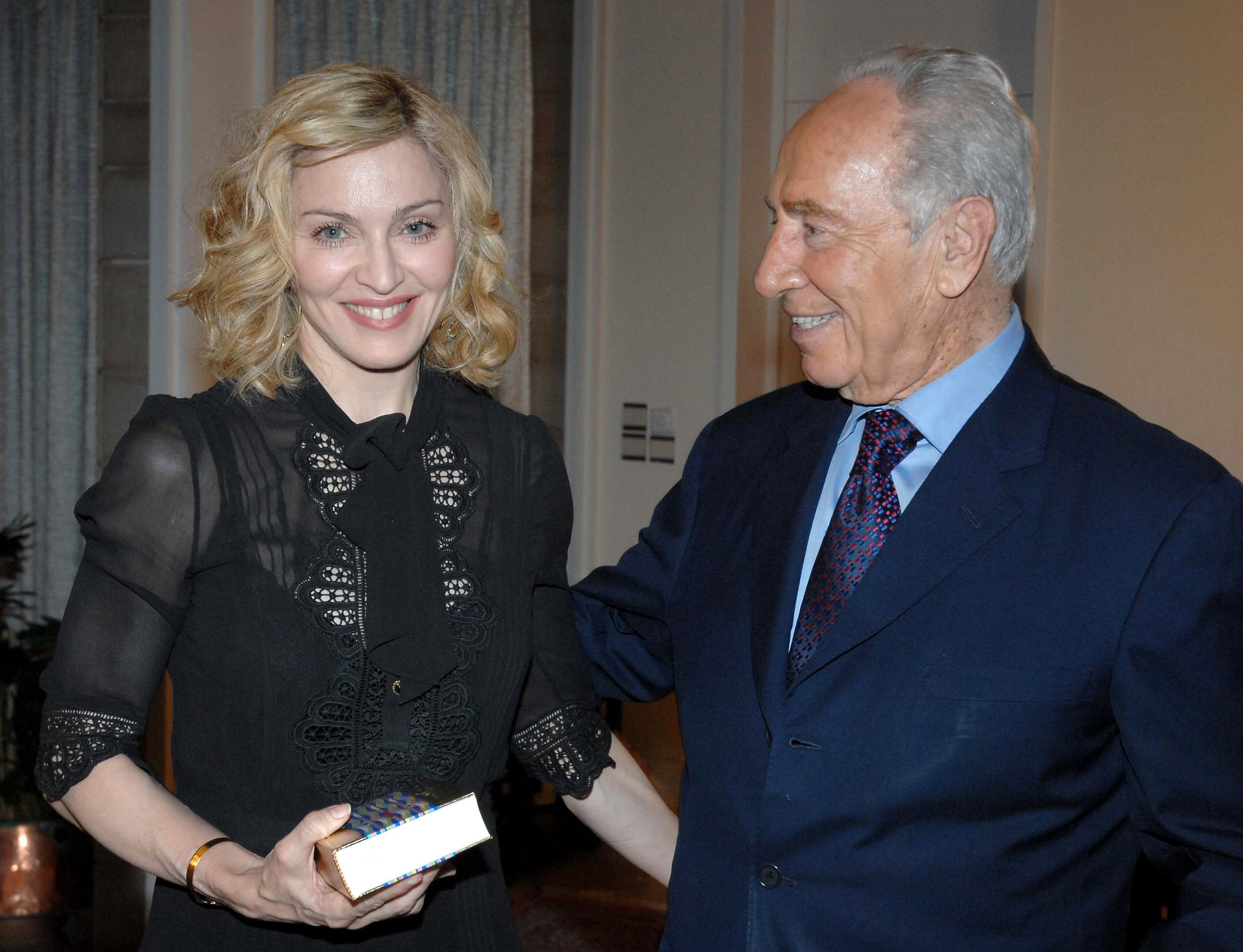 Madonna meets Shimon Peres: Hollywood stars have been found flirting with religion in recent times as Madonna famously dabbled in Kabbalah, a Jewish mystical doctrine.