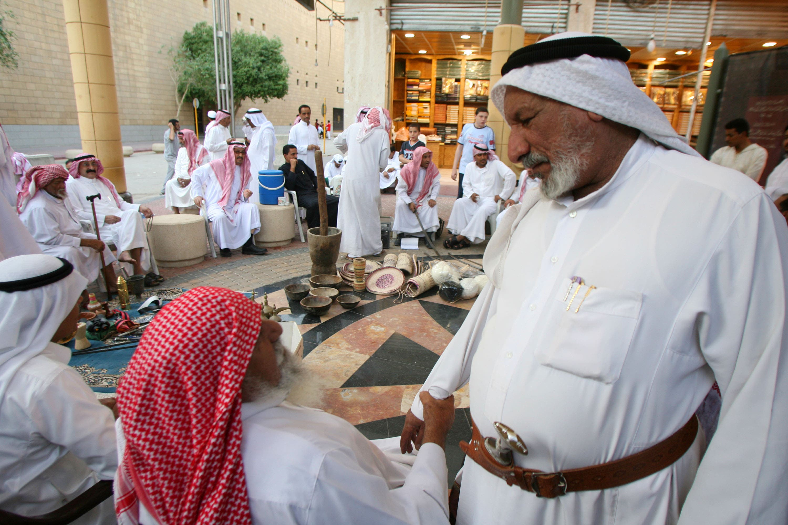 Saudi men encouraged beat their womenfolk  away from the wheel, using the wire 'Igal' on their head-scarf or perhaps the belts on their waist