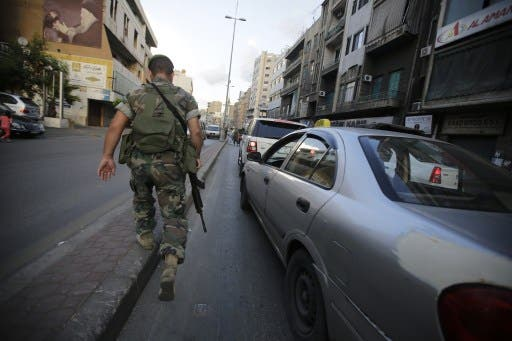 A Lebanese soldier patrols in downtown Beirut (File Archive/AFP)
