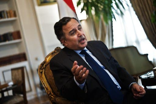 Egypt's Foreign Minister Nabil Fahmy gives an interview to the Agence France Presse at his office on November 9, 2013 in Cairo. (AFP)