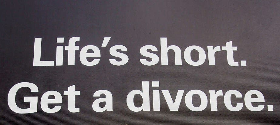 As divorce rates climb around the world, it's easy to laugh it off as another social phenomenon in this ADD-ridden age- Shown for illustrative purposes.