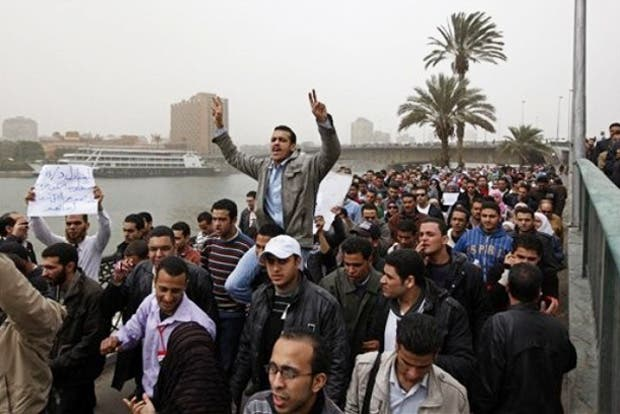 Jobless youth in Cairo protest as unemployment rates increase across the region (Hussein Malla/AP)