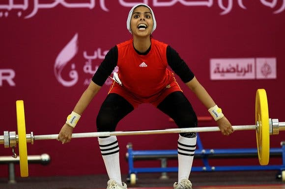 Noof Omar of Yemen attempts the women's 53 kg! (Image courtesy of