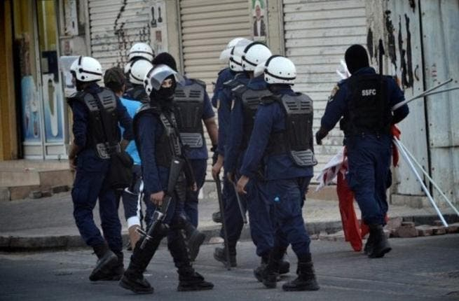Police in Bahrain at one of the protests
