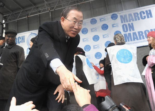 Extending a hand, Ban Ki-moon at a UN event on March 8