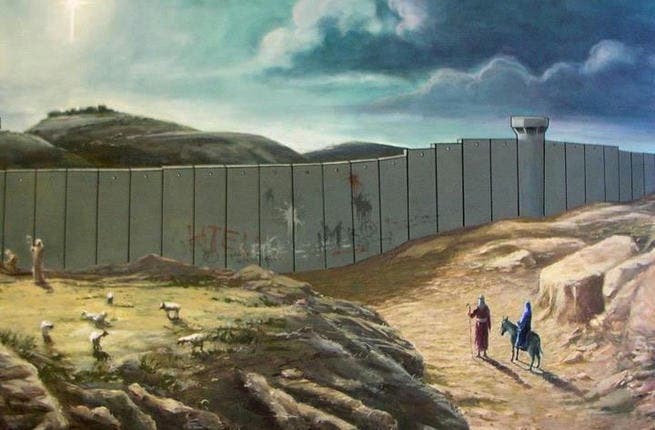 A merry little Christmas: separating the holy family from Bethlehem in a Christmas card (art work by www.banksy.co.uk/)