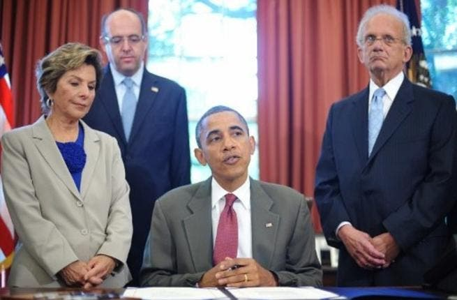 Obama signing the Enhanced Security Cooperation Act with Israel two days ago