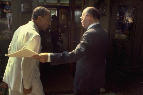 Begin (R) and Sadat (L) meet with Carter at Camp David