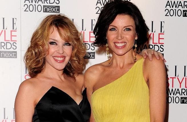 Kylie Minogue and her sister Dannii Minogue.
