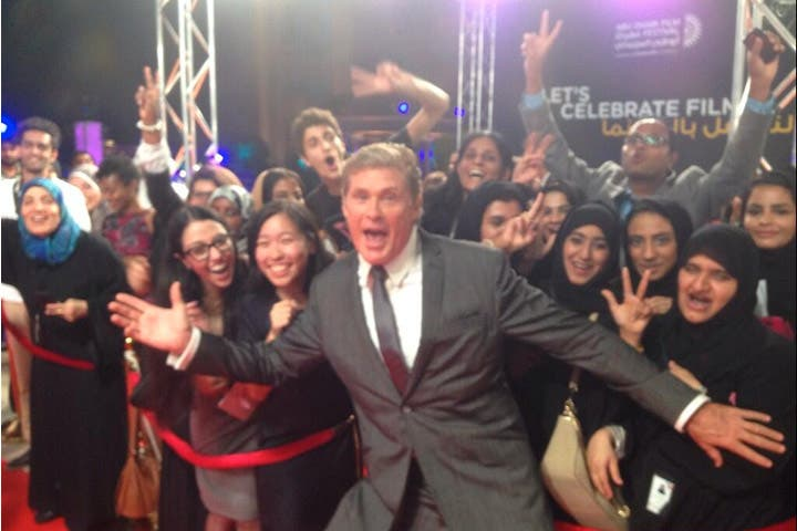 David Hasselfhoff celebrating it up in Abu Dhabi