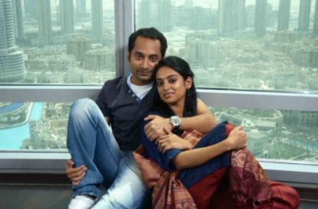 Indian actor Fahad Fazil and actress Gauthami Nair at the set of malayalam movie Diamond Necklace in Dubai.