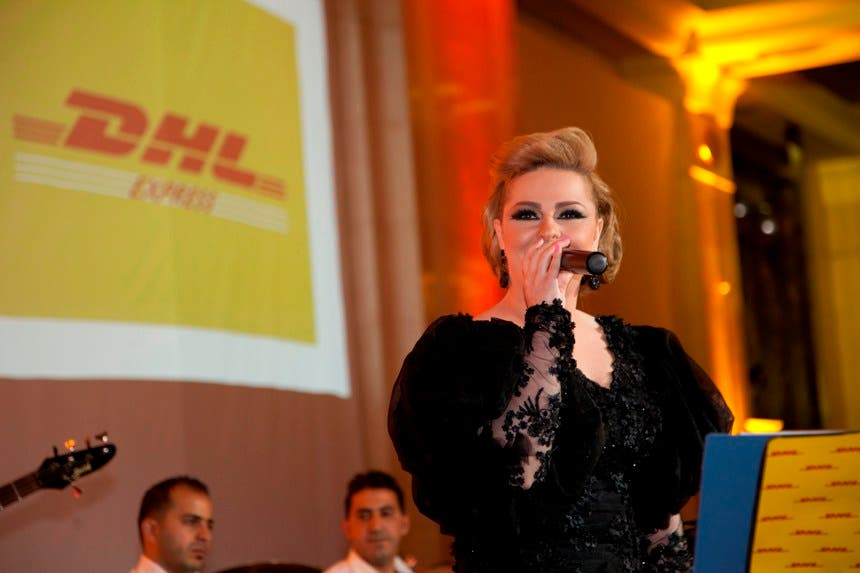 Diana Karazon sings for Jordan and DHL