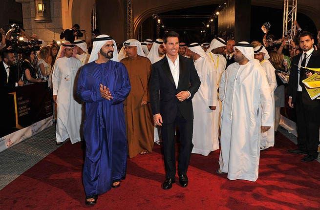 Sheikh Mohammed Bin Rashid Al Maktoum with Tom Cruise at the Dubai International Film Festival in 2011