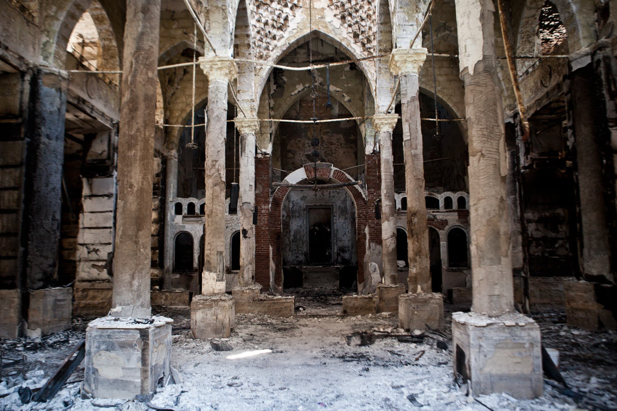 Amir Tadros coptic Church in Minya, some 250 kms south of Cairo, was set ablaze on August 14. Egypt's Christians are living in fear after a string of attacks against churches, businesses and homes of Christians (AFP/VIRGNIE NGUYEN HOANG)