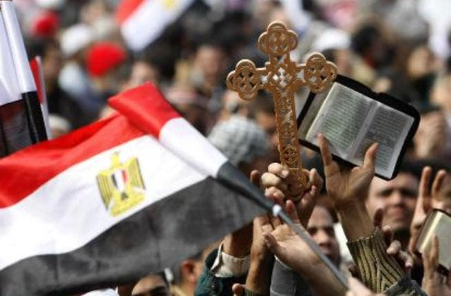 Egyptian Christians at Tahrir Square.
