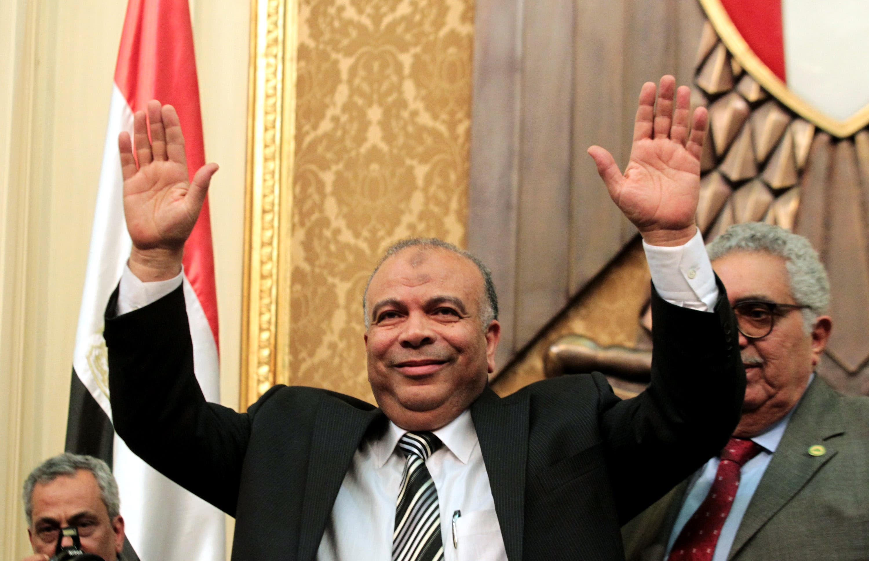 Shown for illustrative purposes- Looking overjoyed here, Speaker of the People's Assembly, Saad al-Katany was not impressed at all with Salafi MP Mamdouh Ismail's religious outbreak.