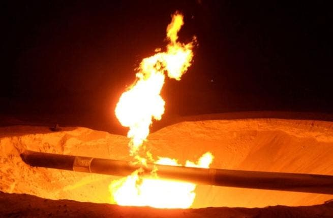 A fire burns on a gas pipeline in the town of Al Arish, North of Sinai. The pipeline, which supplies gas to Jordan and Israel, has come under attack at least 15 times since Egyptian resident Hosni Mubarak was toppled in 2011