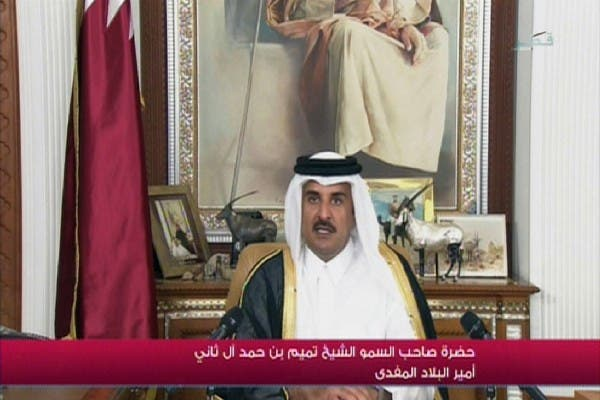 An image grab taken from Qatar TV shows the new Emir of Qatar, 33-year-old Sheikh Tamim bin Hamad Al Thani, delivering his first televised speech to the nation as Emir in Doha on Wednesday. Tamim's accession makes him the youngest sovereign of any of the Gulf Arab monarchies. AFP PHOTO / QATAR TV
