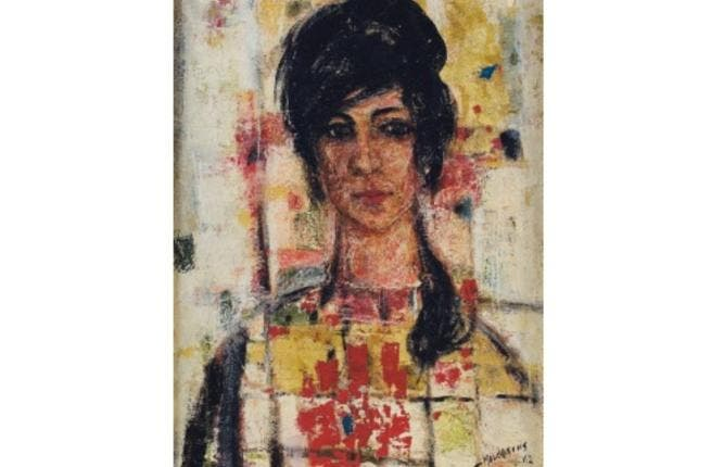 Fateh Moudaress, 'Lady with a Big Heart' (1962), oil and gold leaf-on-panel, 61 x 41cm. (Image courtesy of Christie's).