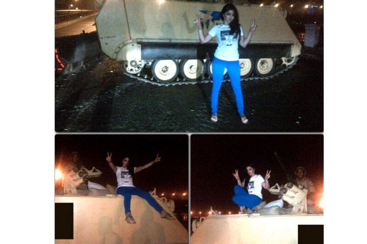Haifa Wehbe poses on top of a military tank in Egypt. (Image: Twitter)