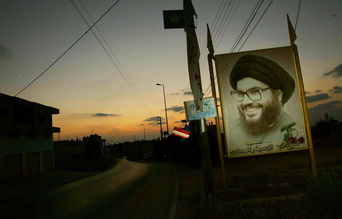A picture of Hezbollah leader Hassan Nasrallah.