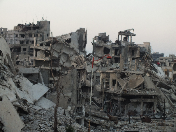 A scene of destruction in Homs, showing the spot where the Amal (hope) hospital used to stand. (Photo courtesy of Syria Deeply)
