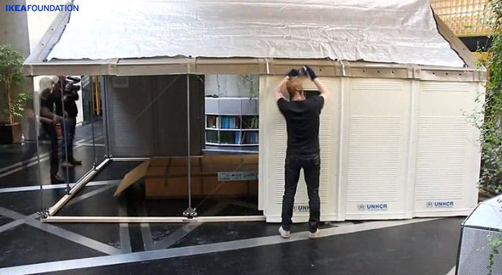 A pre-fabricated house is to serve as an alternative to tents for refugees that designed by the Swedish furniture manufacturer IKEA for UNHCR, in Beirut, Lebanon, July 24, 2013.