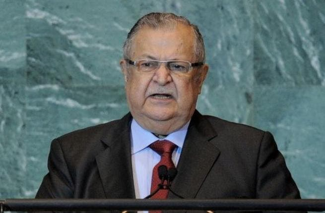 Jalal Talabani, President of Iraq, speaking during the United Nations General Assembly at UN headquarters in New York. ( AFP PHOTO/Stan HONDA)
