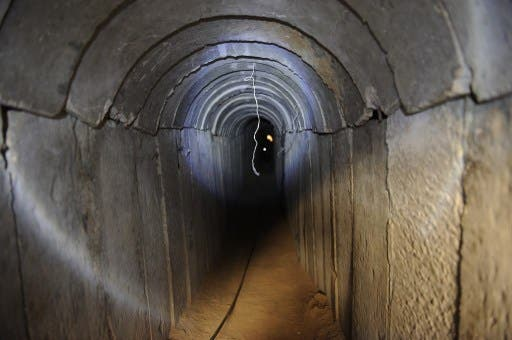 A view of a tunnel reportedly dug by Palestinians beneath the border between the Gaza Strip and Israel and recently uncovered by Israeli troops, on October 13, 2013. (AFP)
