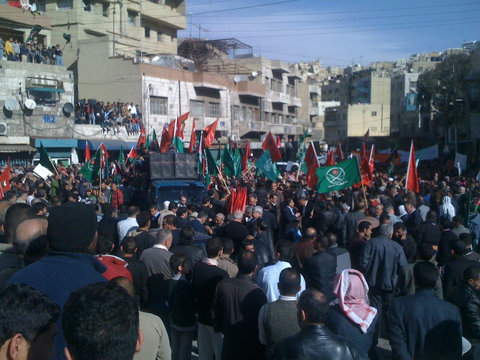 While in Jordan we hear first hand reports of organised and peaceful rallies..