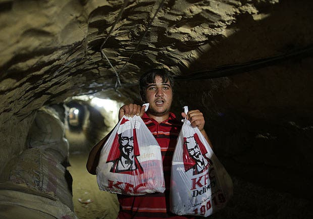 Chicken run: KFC gets smuggled from Egypt into Gaza through tunnels. (Photo courtesy of BuzzFeed)