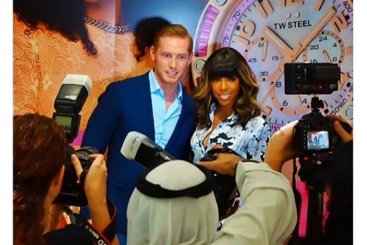 Kelly Rowland posing with Jordy Cobelens at Mall of the Emirates yesterday. (Image: Instagram)