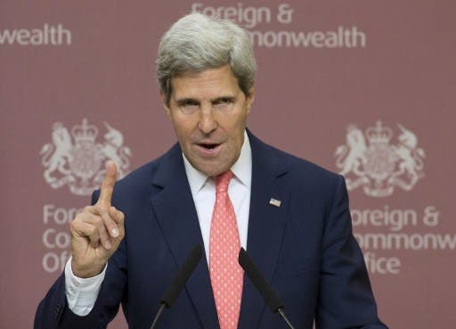 US secretary of State John Kerry addresses a news conference in London. Kerry made a gaffe about Syria handing over their chemical weapons stockpiles, which could inadvertently lead to a breakthrough in the peace talks. (AFP)