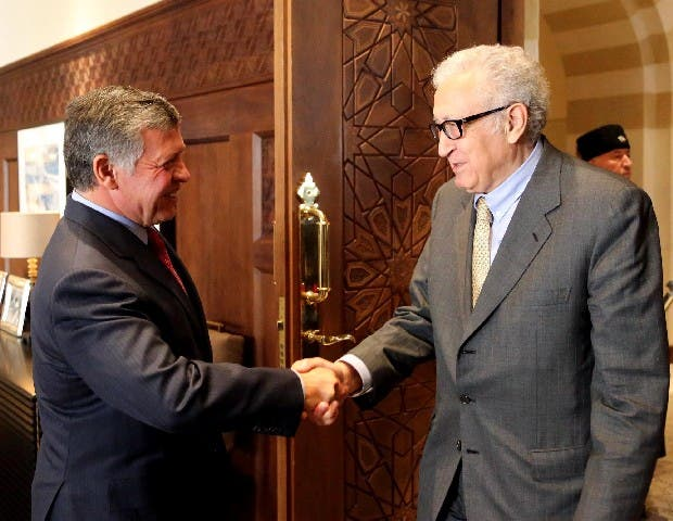 Jordan's King Abdullah and UN-Arab League envoy Lakhdar Brahimi discussed Jordan's willingness to support and facilitate a comprehensive political solution to the Syrian crisis. (Photo courtesy of the Jordan Times/ The Jordanian Royal Court)