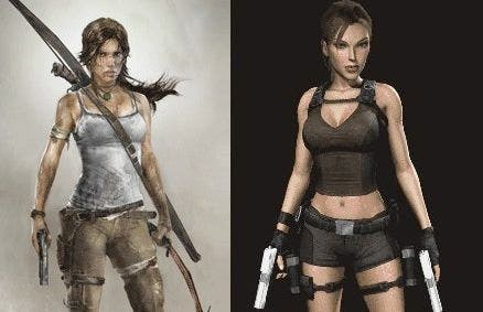 The new 'realistic' Arab version (L) and original Lara Croft (R).