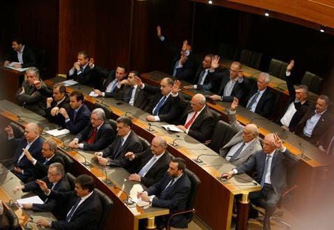 Lawmakers attend a Parliament session in Beirut on Friday. Image via The Daily Star