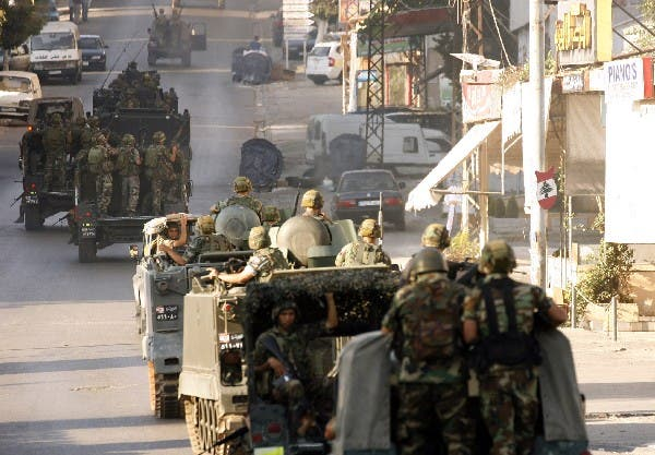 The Lebanese army deploy in the southern town of Sidon's eastern suburb of Abra on Tuesday. AFP photo