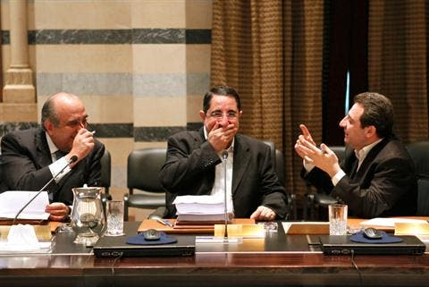 From right, Social Affairs Minister Wael Abu Faour, Agriculture Minister Hussein Hajj Hasan and Tourism Minister Fadi Abboud attend a Cabinet meeting at the Grand Serail in Beirut,