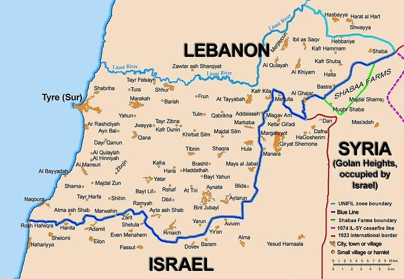 Map showing the Blue Line demarcation line between Lebanon and Israel, established by the UN after the Israeli withdrawal from southern Lebanon after its short 1978 invasion called