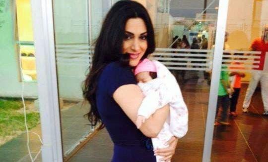 Maya Nasri taking her little to the salon. (Image: Facebook)
