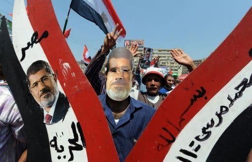 Supporters of ousted Egyptian president Mohamed Morsi  at a demonstration in Cairo on July 26, 2013 (AFP)