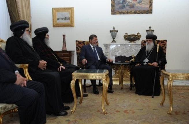 New Egyptian president Mohamed Morsi meets Coptic Bishops