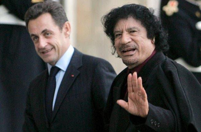 France's former President Nicolas Sarkozy with he late Libyan leader, Muammar Qaddafi.