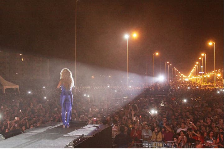 Myriam Fares fires up the Moroccan stage. (Image: Facebook)