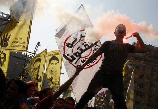 Supporters of Egyptian ousted president Mohamed Morsi and of the Muslim brotherhood movement demonstrate against the military in Cairo's eastern Nasr City district. (AFP)