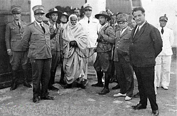 Libyan hero Omar Mukhtar when he was arrested by Italian forces. (Image courtesy of